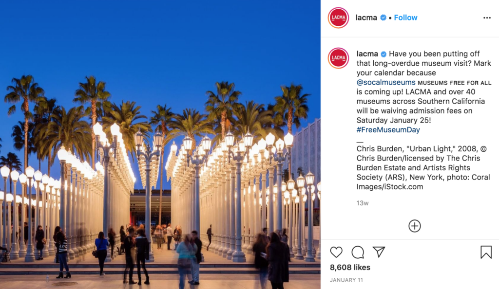 instagram east side lacma los angeles county museum of art lampposts