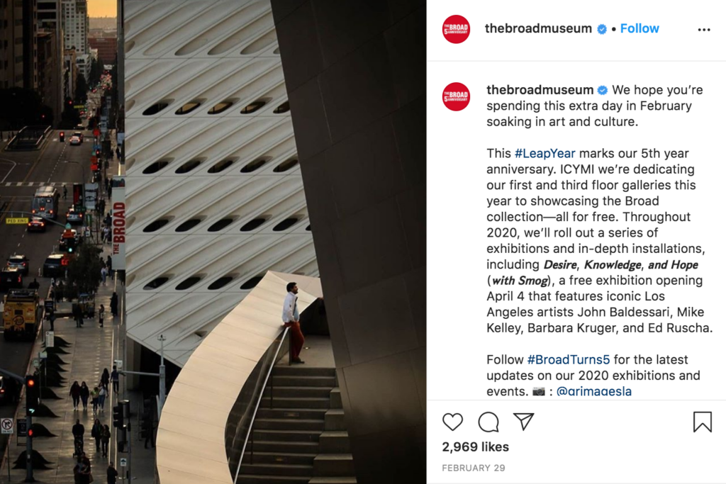 instagram east side the broad museum downtown los angeles modern art