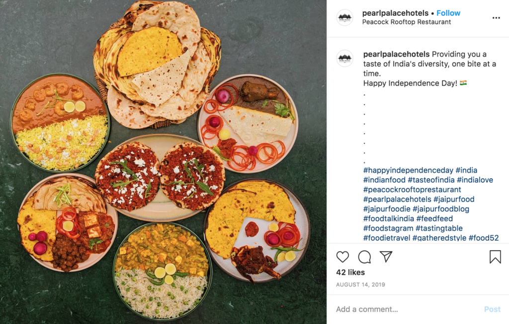 instagram jaipur food indian rajasthan india pearl palace hotel peacock restaurant