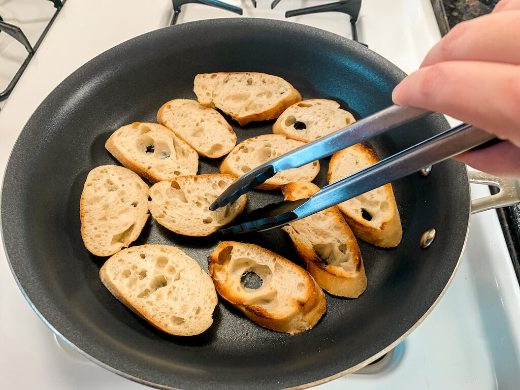bruschetta recipe italian food sourdough baguette slices cooking frying skillet pan toast toasted crostinis