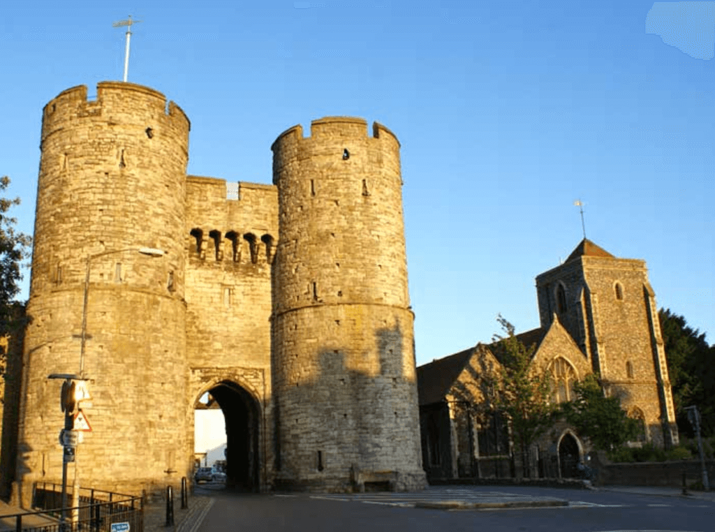 canterbury england kent uk westgate towers 1380 AD old world defend town city medieval times war artillery museum