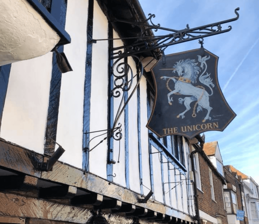canterbury england kent uk The Unicorn Inn pub restaurant beer wine food dogs allowed outside seating garden good authentic english cuisine