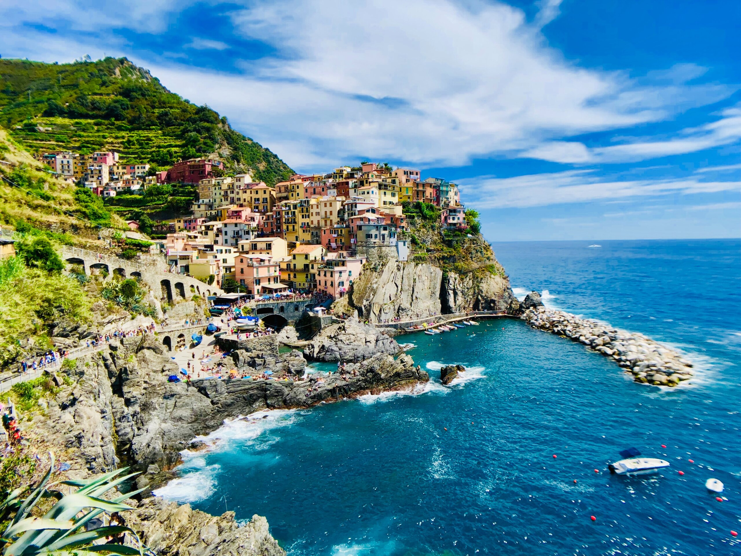 italy italian cinque terre mediterranean sea culture beach beauty village on water coast clear day