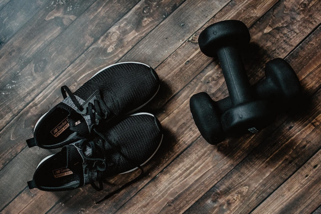 At-Home Activities in India workout shoes weights dumbbells exercise