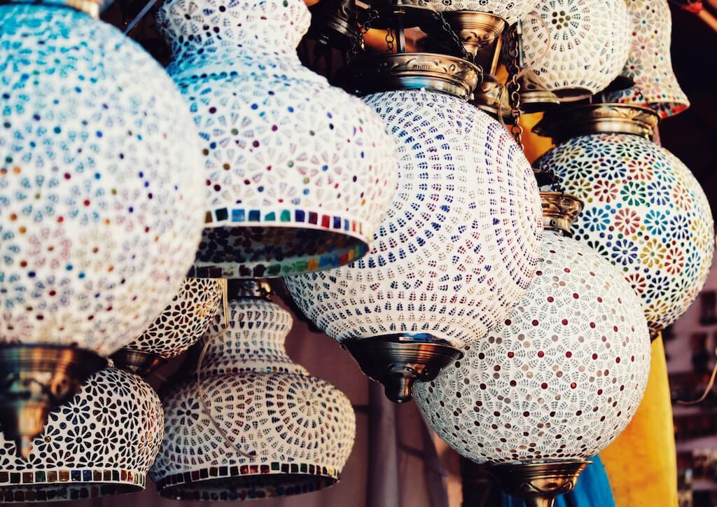 Things You'll Only See in India colorful lamps hanging tiles hand made artisan craft